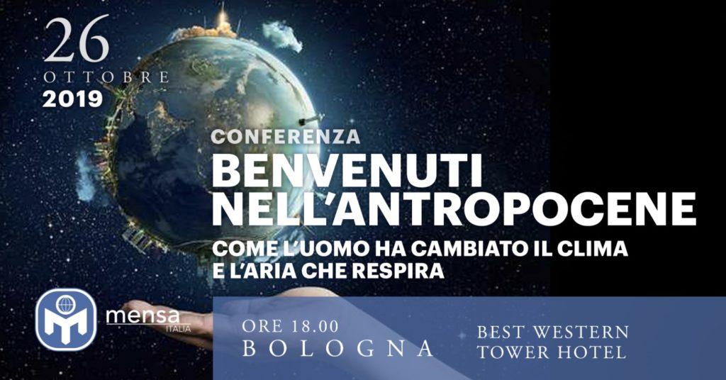 """Bologna, 26 ottobre 2019. Conferenza """"Benvenuti nell'Antropocene! Come l'uomo ha cambiato il clima e l'aria che respira."""" – a cura della prof.ssa Michela Maione"""