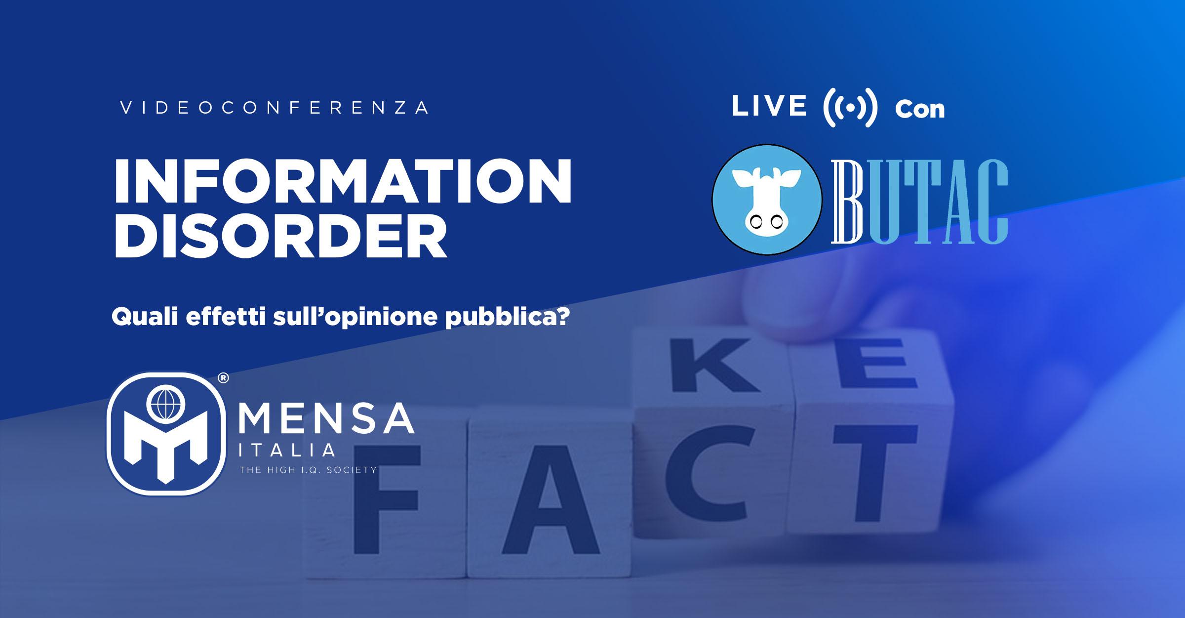 7 Aprile – videoconferenza: Information Disorder, con BUTAC